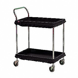 High Density Polyethylene Raised Handle Utility Cart, 400 lb. Load Capacity, Number of Shelves: 2