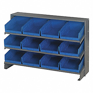 "Steel Bench Pick Rack with 12 Bins, 36""W x 12""D x 23""H, Load Capacity: 240 lb., Gray"