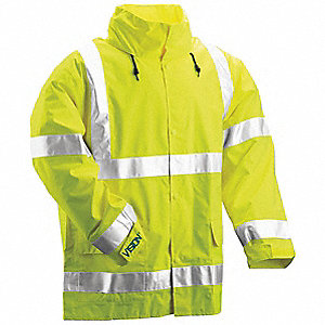 "Hi-Visibility Yellow/Green Polyurethane/Polyester Rain Jacket, Size M, Fits Chest Size 40"" to 42"""