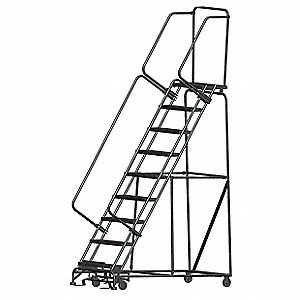 "9-Step Rolling Ladder, Expanded Metal Step Tread, 123"" Overall Height, 450 lb. Load Capacity"