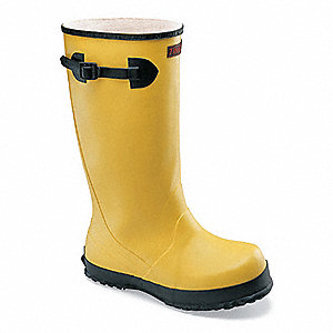 "17""H Men's Overboots, Plain Toe Type, Rubber/Nylon Upper Material, Yellow/Black, Size 12"