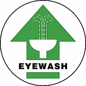 "Eyewash and Shower, No Header, Vinyl, 8"" x 8"", Adhesive Floor, Not Retroreflective"