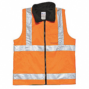 Orange/Red with Silver Stripe High Visibility Vest, ANSI 2, Zipper Closure, L