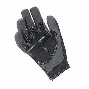 General Utility Mechanics Gloves, Synthetic Leather Palm Material, Gray, L, PR 1