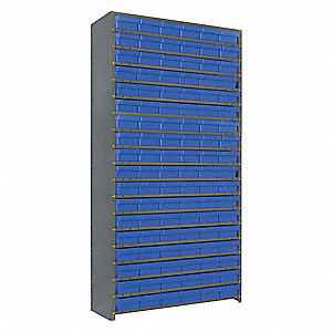 "Steel Enclosed Bin Shelving with 108 Bins, 36""W x 12""D x 75""H, Load Capacity: 7600 lb., Gray"