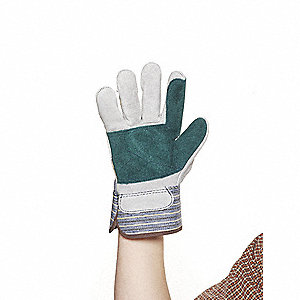 Cowhide Leather Driver's Gloves with Safety Cuff, White, L