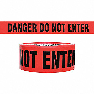 "Barricade Tape, Black/Red, 3"" x 500 ft., Danger Do Not Enter"