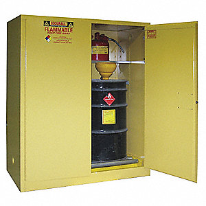 "59"" x 31"" x 65"" Galvanized Steel Vertical Drum Safety Cabinet with Manual Doors, Yellow"