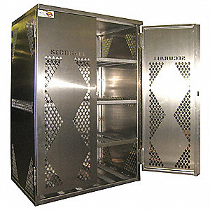 "Silver Gas Cylinder Cabinet, 43"" Overall Width, 32"" Overall Depth, 65"" Overall Height, 12 Horizontal"