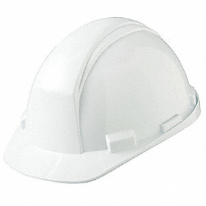 North Class E Front Brim Hard Hat with Rain Trough, 4 pt. Pinlock Suspension, White, Hat Size: 6-1/2
