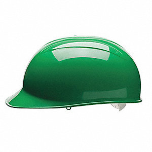 Green Polyethylene Bump Cap, Style: Front Brim, Fits Hat Size: One Size Fits All
