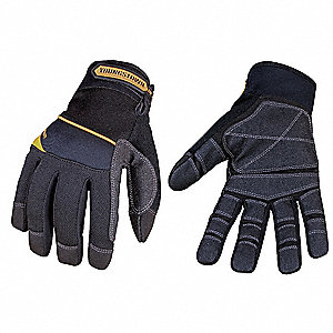 General Utility Mechanics Gloves, Synthetic Leather Base Layer with Non-Slip Reinforcement Palm Mate