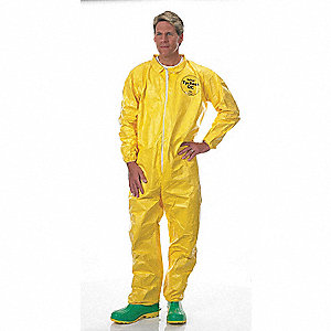 Collared Chemical Resistant Coveralls with Elastic Cuff, Yellow, L, ChemMax® 1