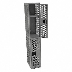 Wrdrb Lockr,Vent,1 Wide, 2 Tier,Gray