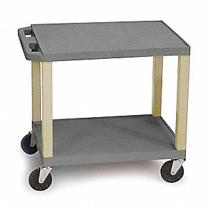 "24""L x 18""W Gray Utility Cart, 300 lb. Load Capacity, Number of Shelves: 2"