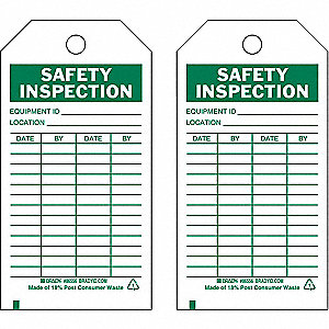 "Economy Polyester Equipment ID___ Location___ Date By Safety Inspection Tag, 5-3/4"" Height, 3"" Width"