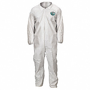 Collared Disposable Coveralls with Elastic Cuff, White, 2XL, MicroMax® NS