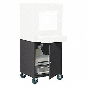 "21"" x 22-1/2"" x 26"" Steel Mobile Computer Cabinet Base, Black"