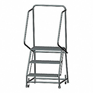 "3-Step Rolling Ladder, Expanded Metal Step Tread, 58-1/2"" Overall Height, 450 lb. Load Capacity"