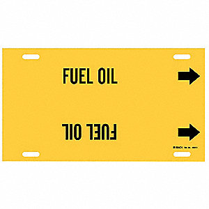 Pipe Marker,Fuel Oil,Yellow,10 to 15 In