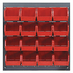 "Louvered Bench Rack with 16 Bins, 18""W x 1/4""D x 19""H, Number of Sides: 1, 175 lb. Load Capacity"