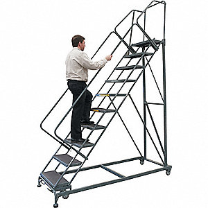 "10-Step Rolling Ladder, Serrated Step Tread, 133"" Overall Height, 450 lb. Load Capacity"
