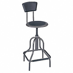 "Round Stool with 22-1/2"" to 27"" Seat Height Range and 250 lb. Weight Capacity, Pewter"