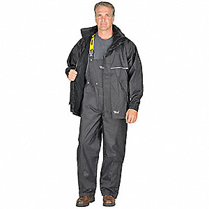 "Men's Black 420D Soft Flex Nylon Rain Jacket with Detachable Hood, Size XL, Fits Chest Size 48"" to 5"