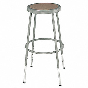 "Round Stool with 19"" to 27"" Seat Height Range and 300 lb. Weight Capacity, Gray"
