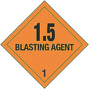 1.5 Blasting Agent, Class 1 Paper, Self-Sticking DOT Label
