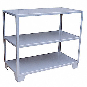 "Freestanding Open Metal Shelving, 48""W x 24""D x 45""H, 3000 lb. Load Cap., 3 Shelves, Gray"