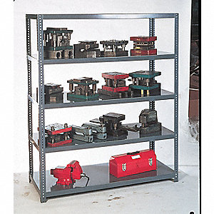 "Metal Shelving,Open,72""H,5 Shelf"
