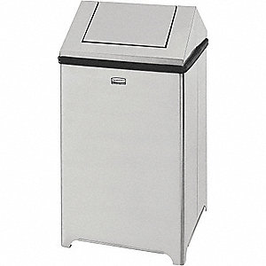 Trash Can,Square,14 gal.,Silver