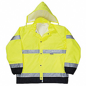 Hi-Visibility Yellow Polyester/Polyurethane Coating Breathable Rain Jacket, Size S, Fits Chest Size