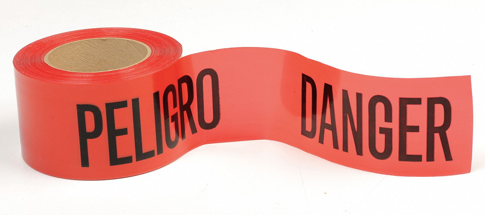 Barricade Tape, Red, 3 in x 300 ft, Danger Peligro