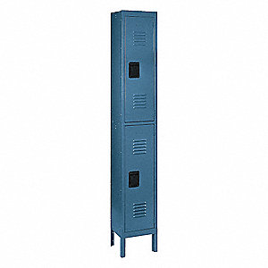 Wardrobe Locker,Lvrd,1 Wide, 2 Tier,Blue