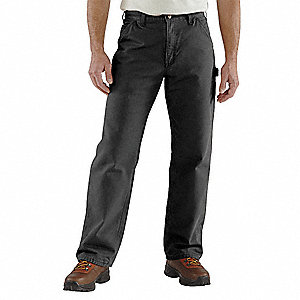"Men's Dungaree Work Pants, 100% Ring Spun Cotton Duck, Color: Black, Fits Waist Size: 28"" x 30"""