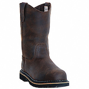 "11""H Men's Wellington Boots, Plain Toe Type, Leather Upper Material, Dark Brown, Size 9-1/2"