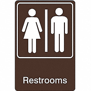 Restroom Sign,9 x 6In,WHT/BR,ACRYL,ENG