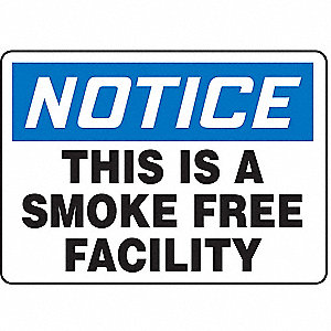 Notice No Smoking Sign,7 x 10In,AL,ENG