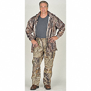 "Men's Camouflage Polyurethane Rain Jacket with Hood, Size XL, Fits Chest Size 48"" to 50"""