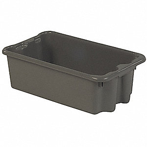 "Stack and Nest Container, Gray, 8""H x 24""L x 14-1/8""W, 1EA"
