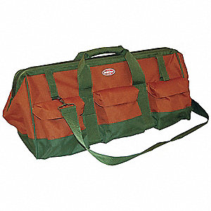 Canvas Tool Bag, General Purpose, Number of Pockets: 14, Rust/Green