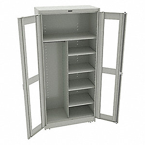 "Commercial Storage Cabinet, Light Gray, 78"" H X 36"" W X 18"" D, Unassembled"