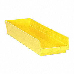 "Shelf Bin, Yellow, 23-5/8"" Outside Length, 8-3/8"" Outside Width, 4"" Outside Height"