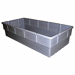 "Storage Bin, Gray, 38-1/2"" Outside Length, 18"" Outside Width, 9"" Outside Height"