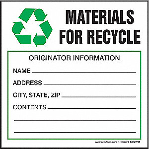 Hazardous Waste Label,4 In. H,PK100