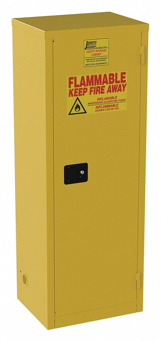 24 gal Flammable Cabinet,  Self-Closing Safety Cabinet Door Type,  65 in Height,  23 in Width