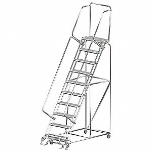 "10-Step Rolling Ladder, Serrated Step Tread, 143"" Overall Height, 450 lb. Load Capacity"
