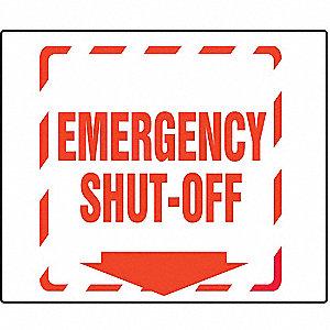PROJ SIGN 90D 8X8 PNL EMER SHUT OFF